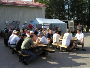 Competitors meet at team village in WRTC 2002 Finland