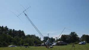 "Using the ""falling derrick: method to raise the 40' mast and antenna. This method does not require anyone to leave the ground."
