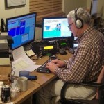 Adm. Scott Redd operates a ham radio from Union, Maine, during a contest in which he set an American record for the highest number of contacts — 5,609 — in two days. (Photo provided by Scott Redd)